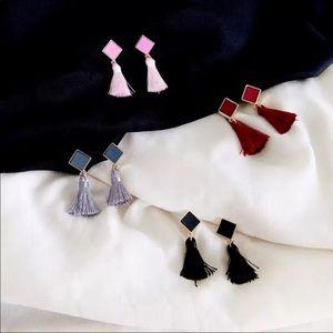 Jewelry - Leather tassel earrings